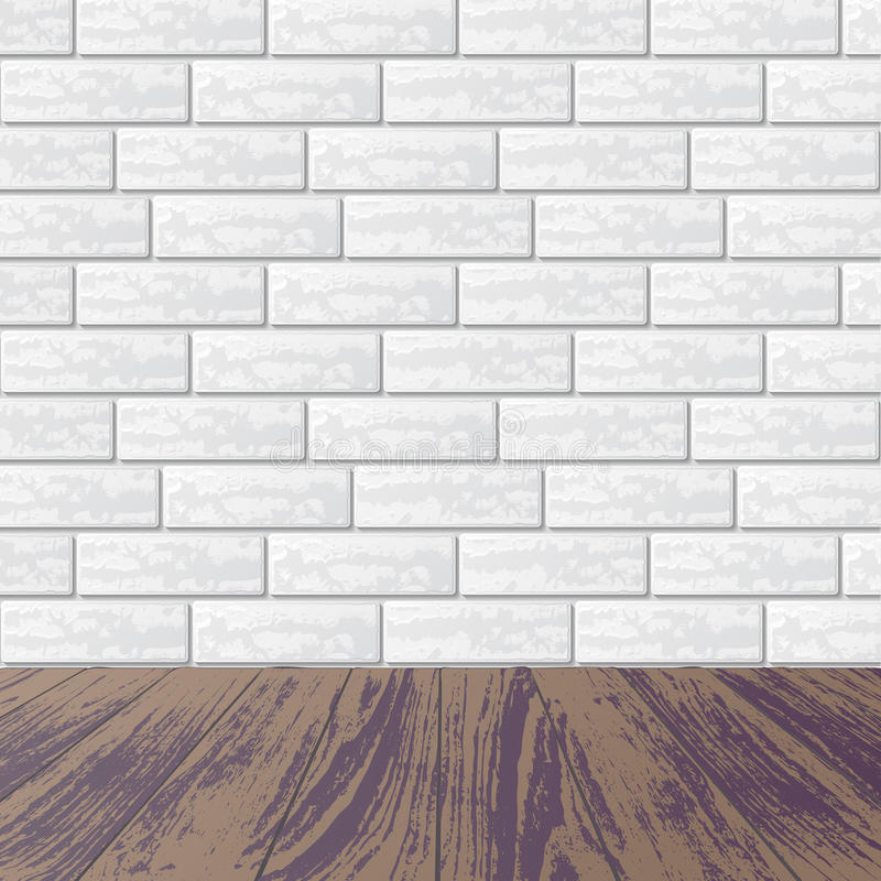 Gray Brick Wall With Laminate Floor Stock Vector Illustration Of