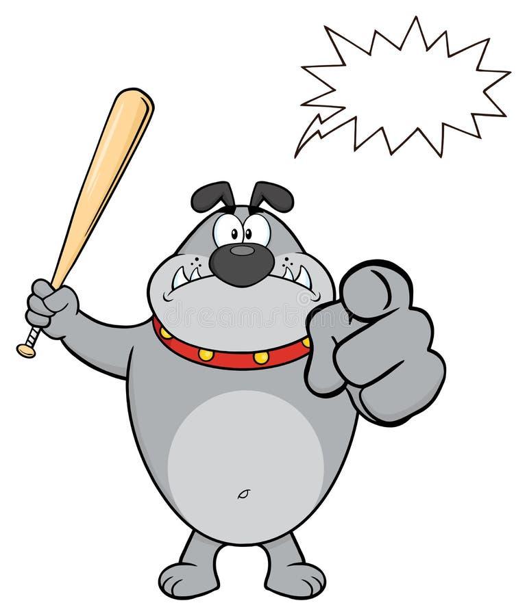Gray Bulldog Cartoon Mascot Character enojado que celebra un palo y señalar ilustración del vector