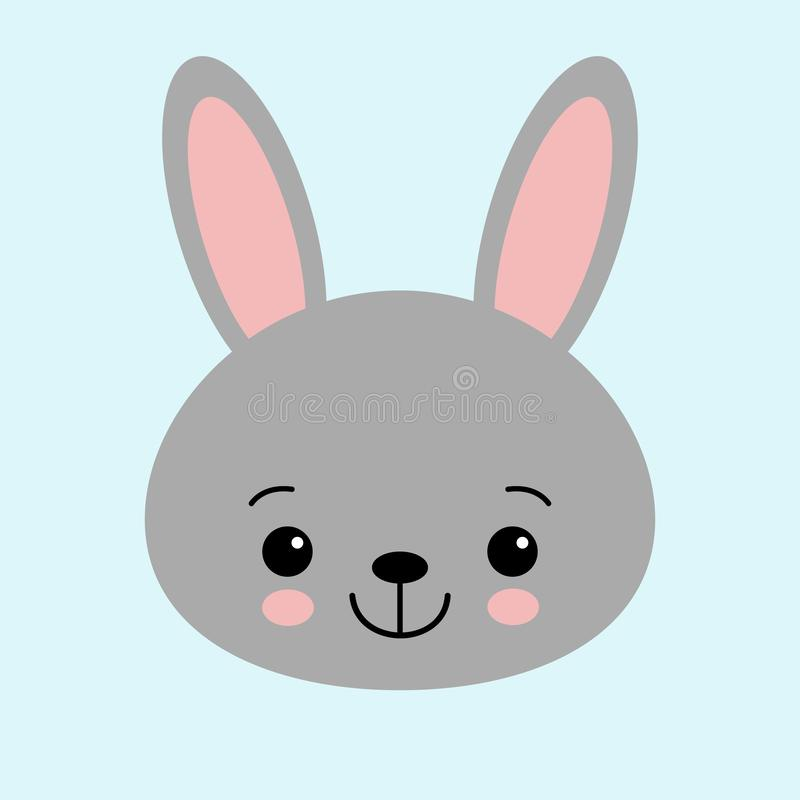 Gray bunny rabbit. Funny head face. Big ears. Cute kawaii cartoon character. Baby greeting card template. Happy Easter sign symbol royalty free illustration