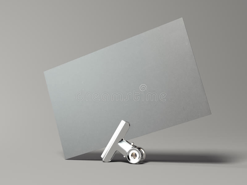Gray business card with silver clip. 3d rendering. Gray business card with silver clip in bright studio. 3d rendering vector illustration