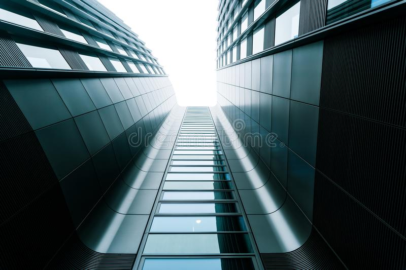 Gray business center, modern architecture royalty free stock photo
