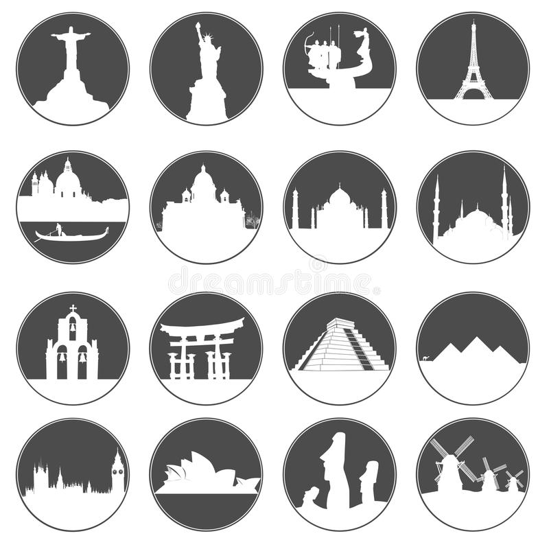Gray button famous places. Gray buttons with white silhouettes of famous places in the world on a white background vector illustration