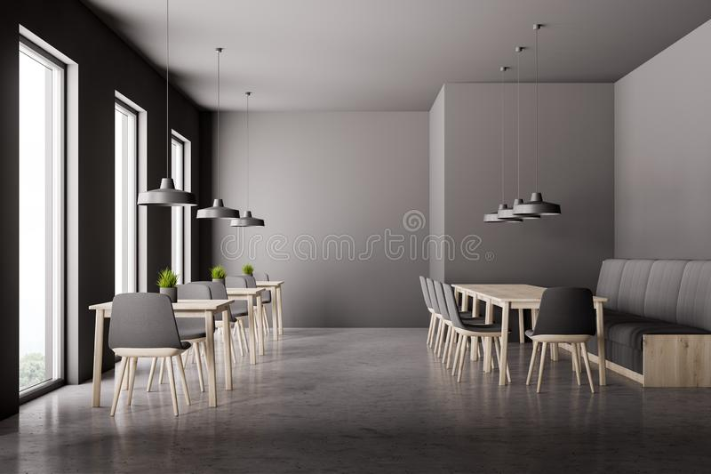 Gray cafe interior with sofa vector illustration
