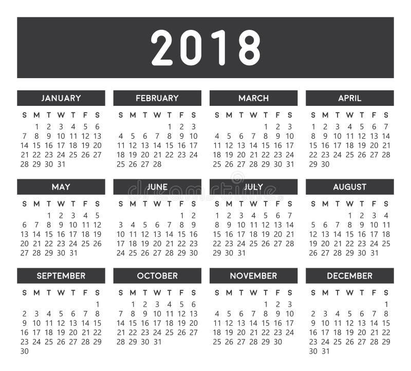 Gray Calendar 2018 ilustração stock