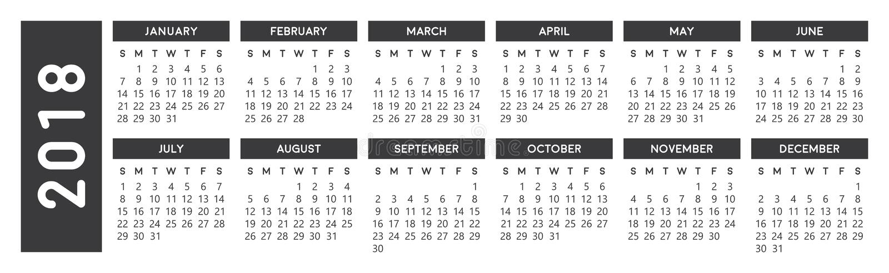 Gray Calendar 2018 libre illustration
