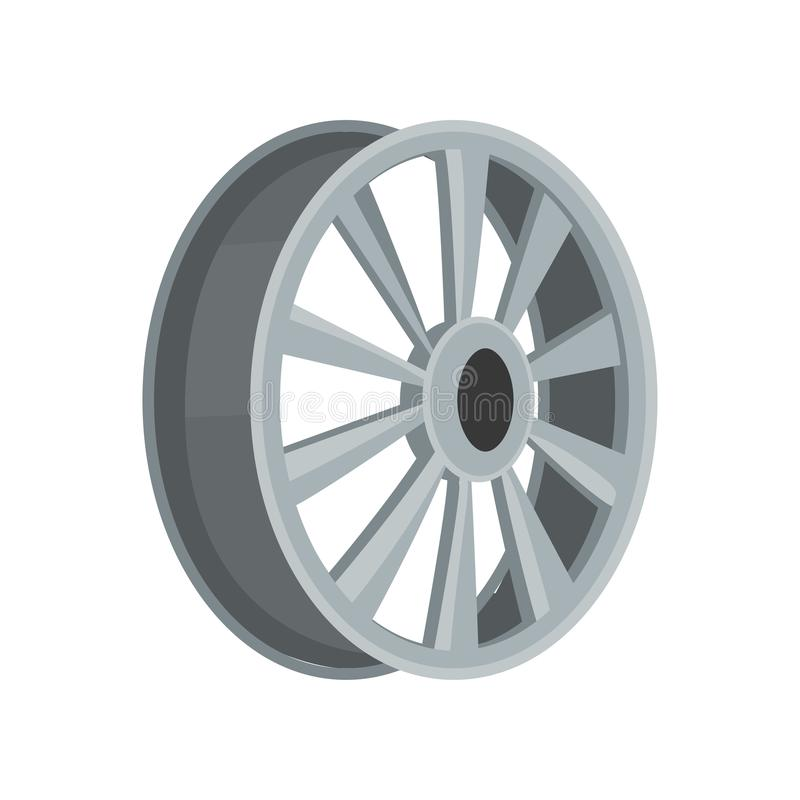 Gray car disk. Flat vector icon of alloy wheel. Transport theme. Element for advertising banner, flyer or poster auto. Gray car disk. Icon of alloy wheel. Object royalty free illustration