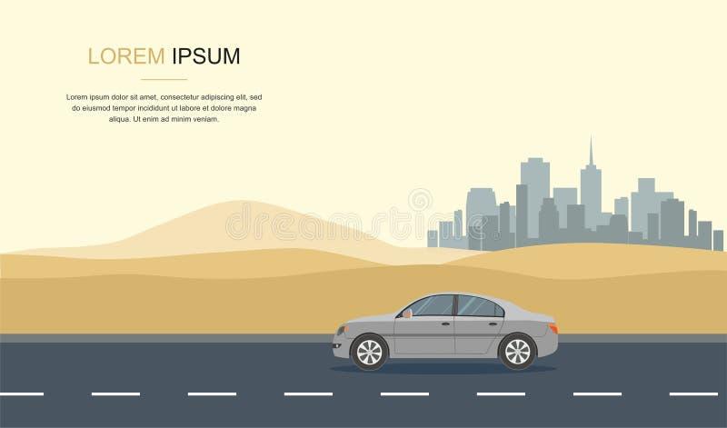 Gray Car Drive en el desierto libre illustration
