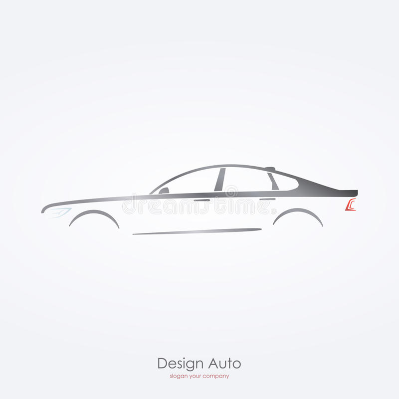 Gray car silhouette side view of luxury sedan. vector illustration