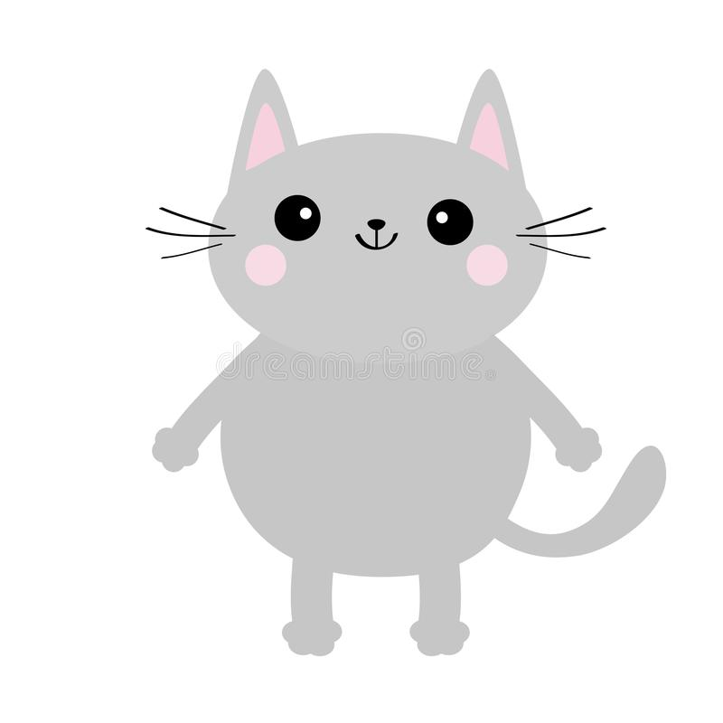 Gray cat face silhouette. Cute cartoon kitty character. Kawaii animal. Funny baby kitten with eyes, mustaches, hands paw print. Lo vector illustration