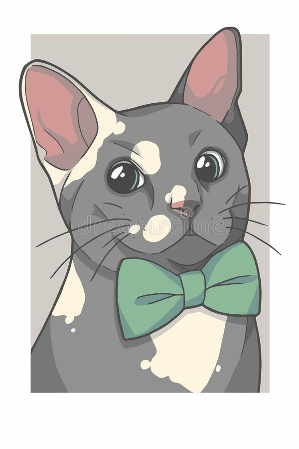 Gray cat with green bowtie portrait vector graphic illustration stock illustration