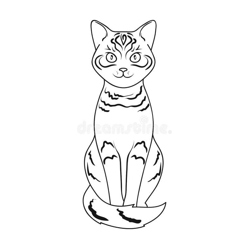 Gray Cat Los animales escogen el icono en web del ejemplo de la acción del símbolo del vector del estilo del esquema stock de ilustración