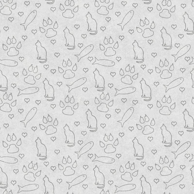 Gray cat, paw prints, fish, and hearts seamless and repeat pattern background. With texture stock photography