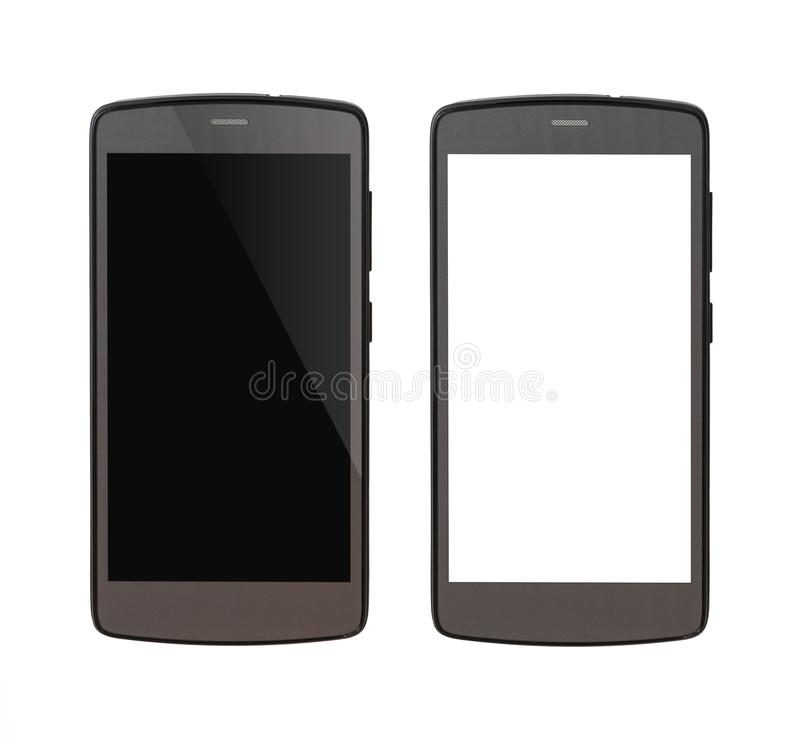 Gray cellphone isolated on white background royalty free stock photography