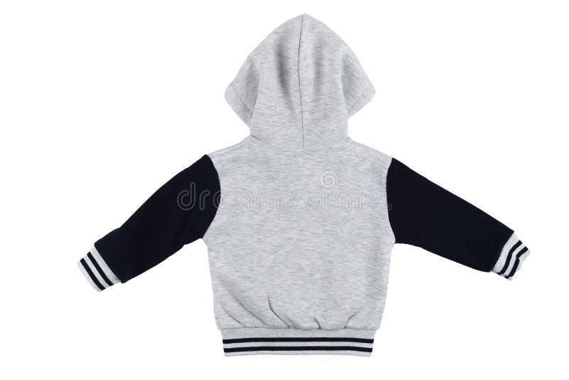 Gray children hoodie sweatshirt long sleeve isolated royalty free stock photography