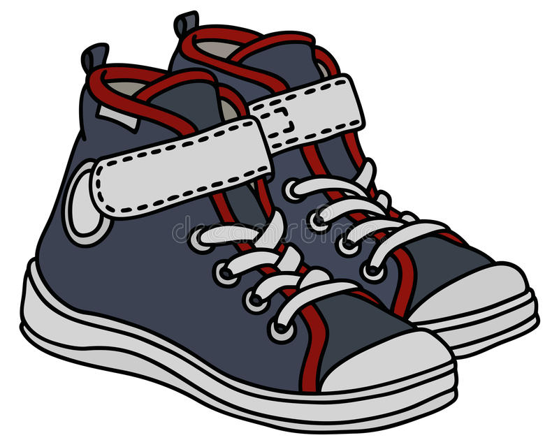 Gray childrens sport shoes. Hand drawing of gray and white childrens sport shoes stock illustration