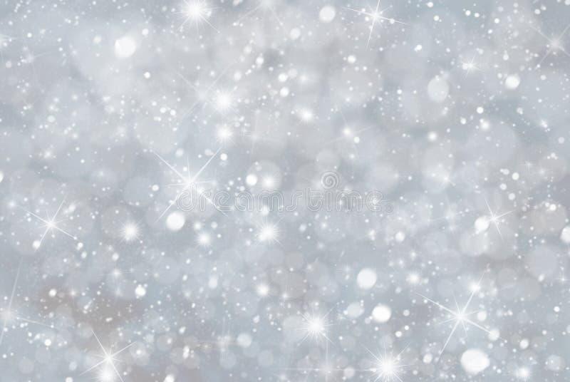 Gray Christmas Background With Snwoflakes, Bokeh et étoiles, couleur bleue photo libre de droits