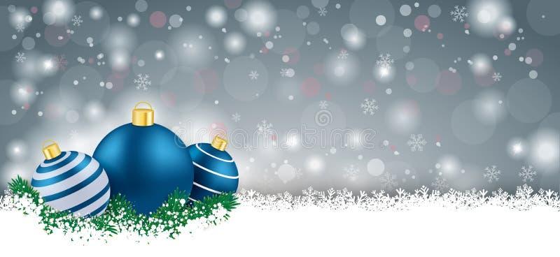 Gray Christmas Card Blue Baubles largo stock de ilustración
