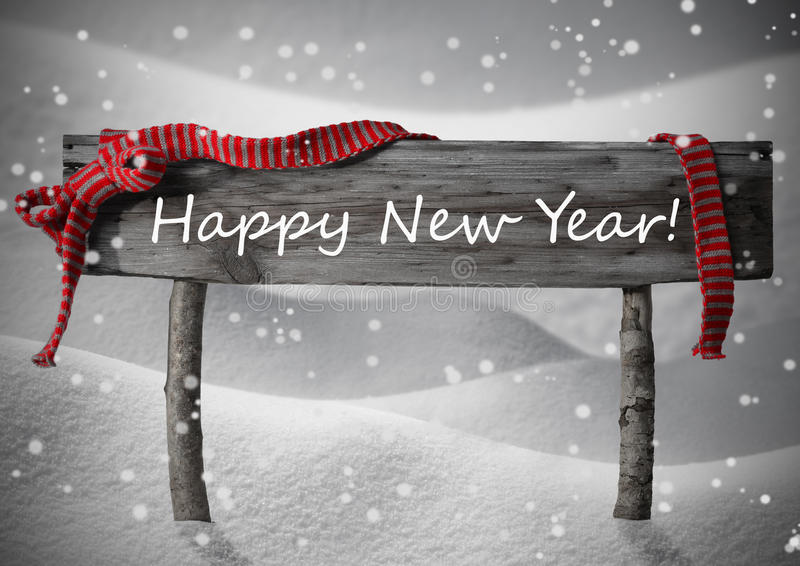 Gray Christmas Sign Happy New Year Snow, Red Ribbon, Snowflakes vector illustration