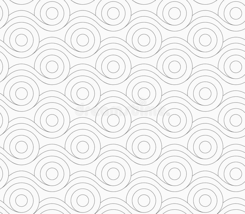 Gray circles merging with wavy lines. Monochrome abstract geometrical pattern. Modern gray seamless background. Flat simple design.Gray circles merging with wavy vector illustration