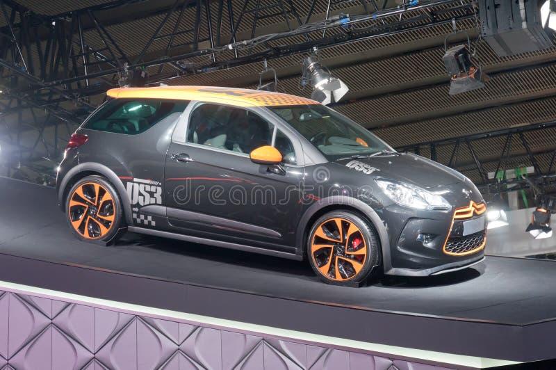 Gray citroen sports car at presenter booth royalty free stock photos