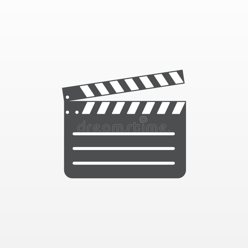 Gray Clapperboard symbol som isoleras på bakgrund Modern plan pictogram, affär som marknadsför internet c vektor illustrationer