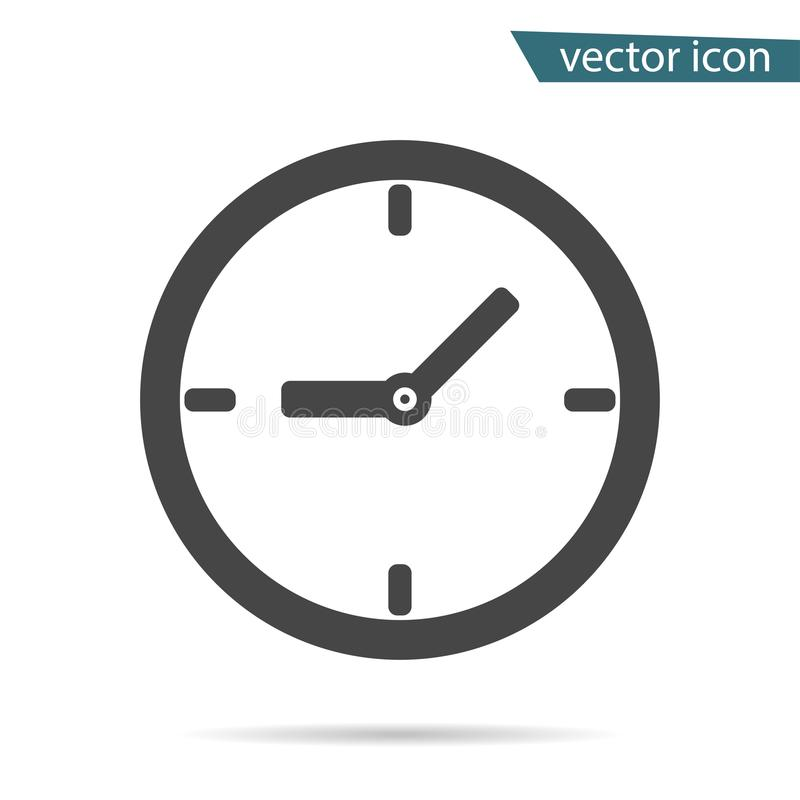 Gray clock icon isolated on background. Modern simple flat time sign. Business, internet concept. Tr stock illustration