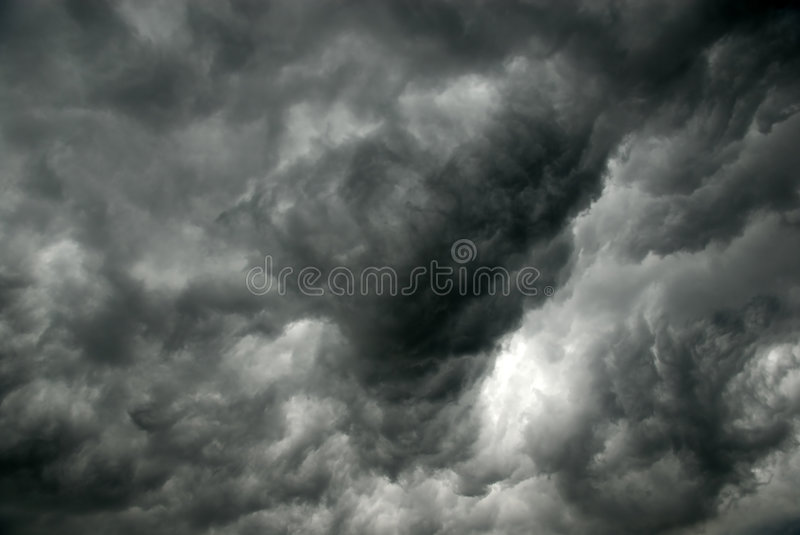 Gray clouds before storm stock image