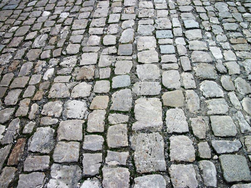 Gray cobblestone pavement in perspective stock photo