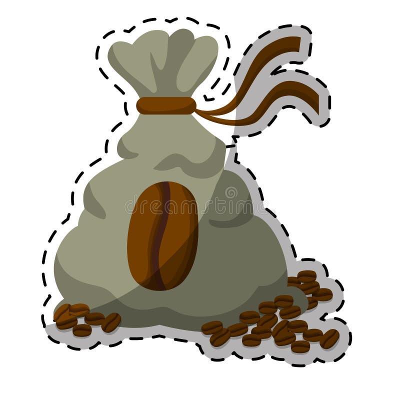 Gray coffee sack with coffee grains. Illustration image stock illustration