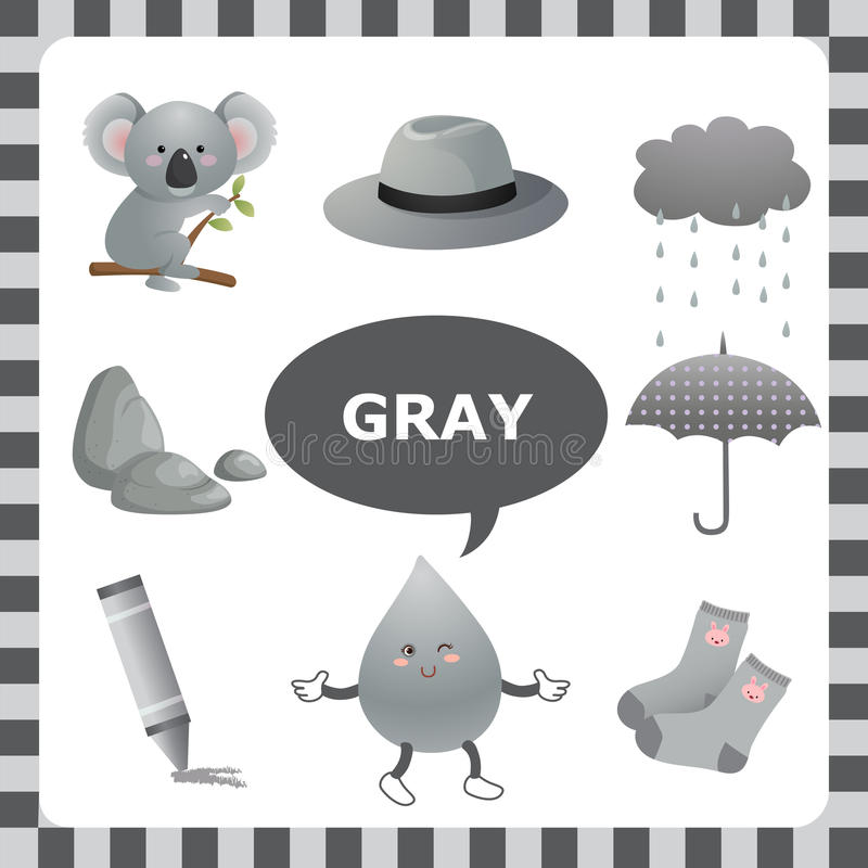 Gray color. Learn The Color Gray- things that are gray color stock illustration