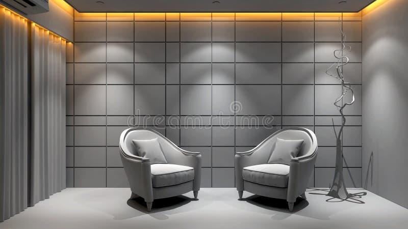 Gray color living-room sitting area illustration.  royalty free illustration