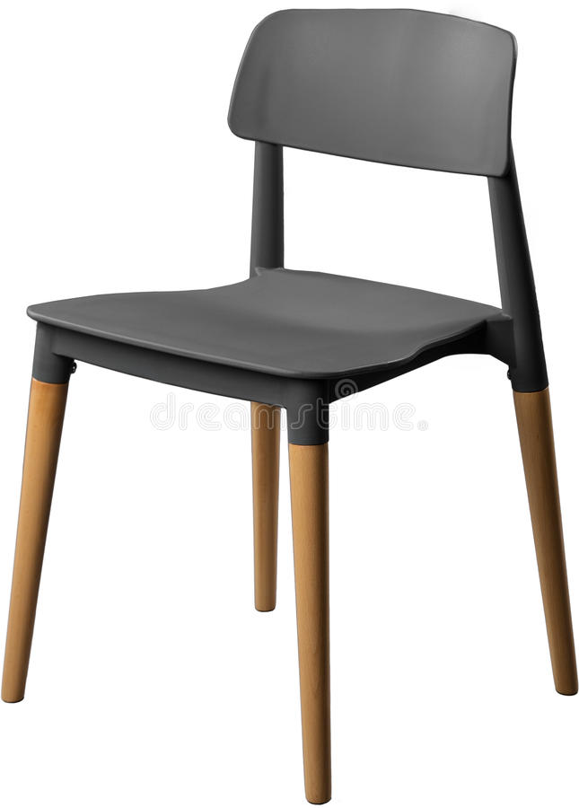 Gray color plastic chair, modern designer. Chair on wooden legs isolated on white background. furniture and interior.  stock image