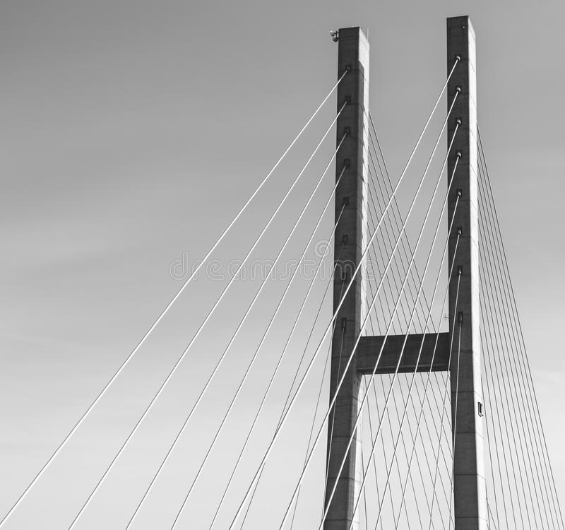 Gray Concrete Bridge in Grayscale Photography stock images