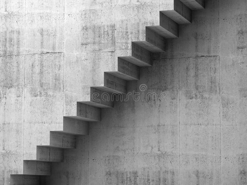 Gray concrete stairway on the wall, 3d interior vector illustration