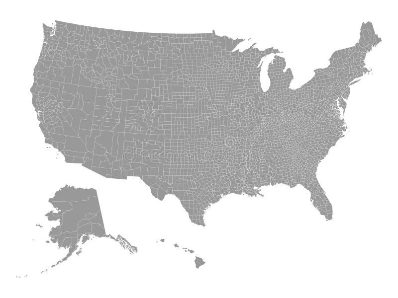 Gray Counties Map av Amerikas förenta stater stock illustrationer