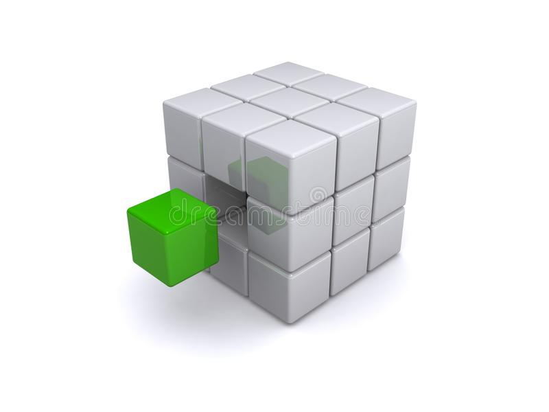 Gray cubes green cube vector illustration