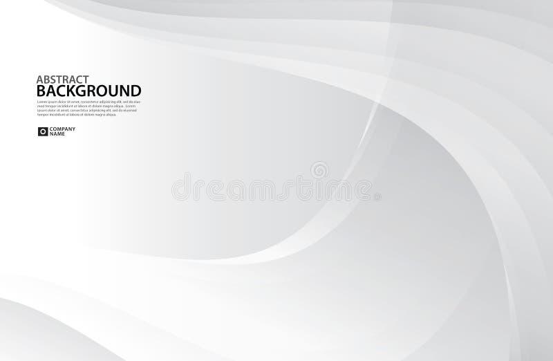 Gray Curve Abstract-Hintergrund, weiße Beschaffenheit, Tapete, Oberfläche, Fahne, AbdeckungsEntwurfschablone, Hintergrund, strukt vektor abbildung