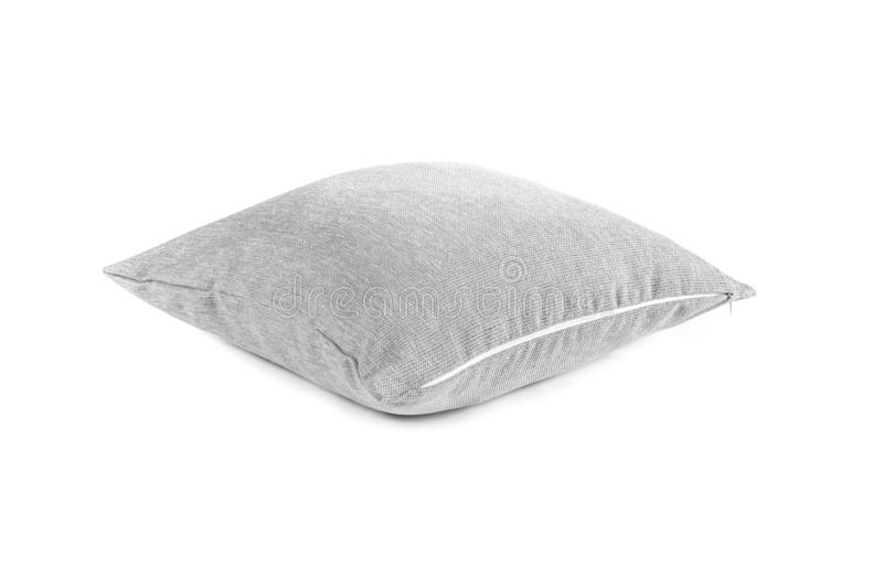 Gray cushion on the white background royalty free stock photography