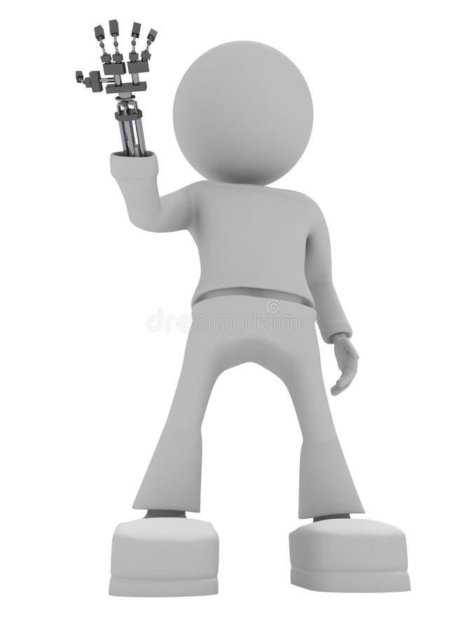 Download Gray cyborg on white stock illustration. Illustration of robot - 9068651