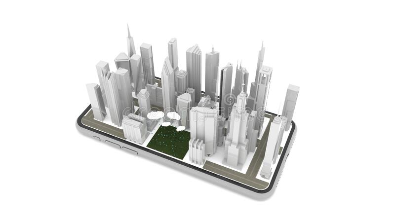 Gray 3D city building with clouds and rain is falling on green space on Smartphone white screen Isolated on a White background, il vector illustration