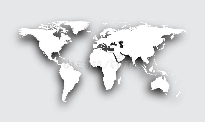 Gray 3d world map. Gray 3d world map with shadow. Vector paper illustration vector illustration