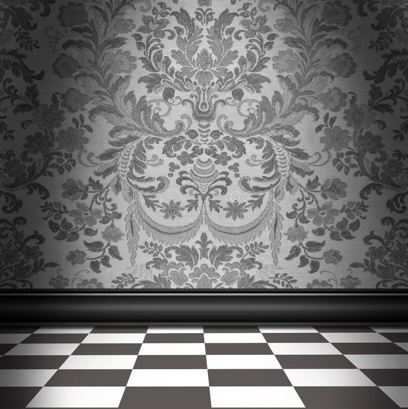 Gray Damask Wallpaper With Gray & pavimentazione in piastrelle bianca della scacchiera illustrazione di stock