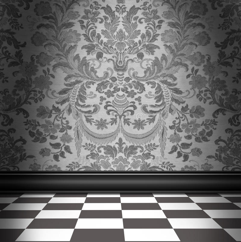 Download Gray Damask Wallpaper With Gray & White Checkerboard Tile Floor Stock Image - Image of home, victorian: 96496507
