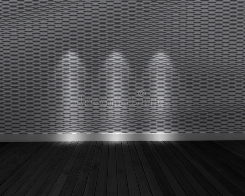 Gray And Dark room. Dark room with 3 light with wooden floor and decorative wall textures stock illustration