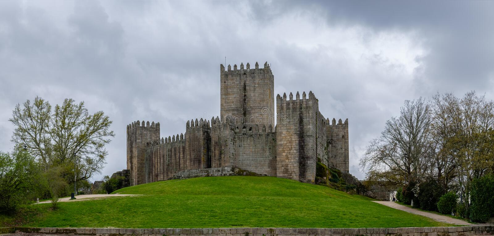 Gray day next to the Castle of Guimaraes royalty free stock photos