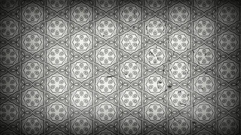 Gray Decorative Floral Pattern Wallpaper escuro ilustração stock