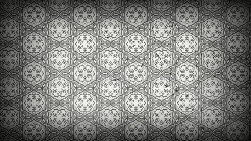 Gray Decorative Floral Pattern Wallpaper oscuro stock de ilustración