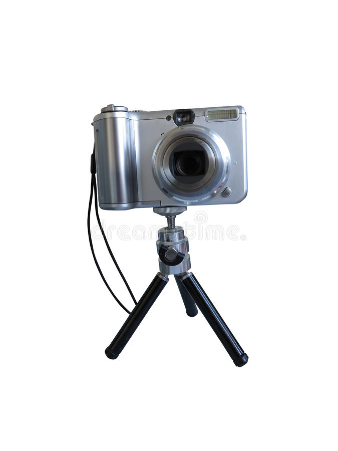 Download Gray Digital Photo Camera On Tripod Isolated Over White Stock Photo - Image: 40230200
