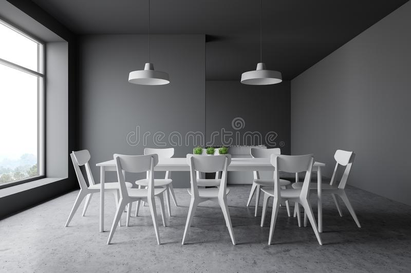 Gray dining room interior with white chairs royalty free illustration