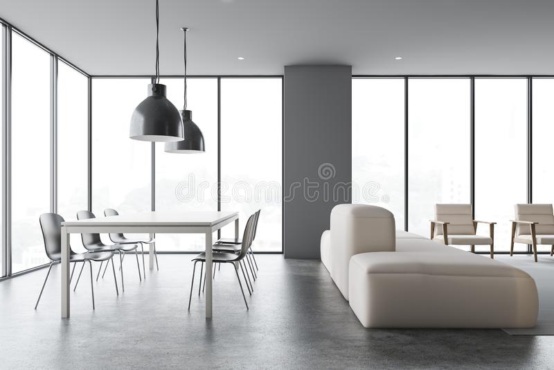 Dining Room Gray Chairs Side Toned Stock Illustration